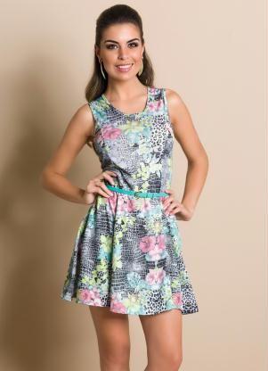 8262f3a51 Vestido Evasê Estampado | vestidos | Evase, Roupas e Estampas