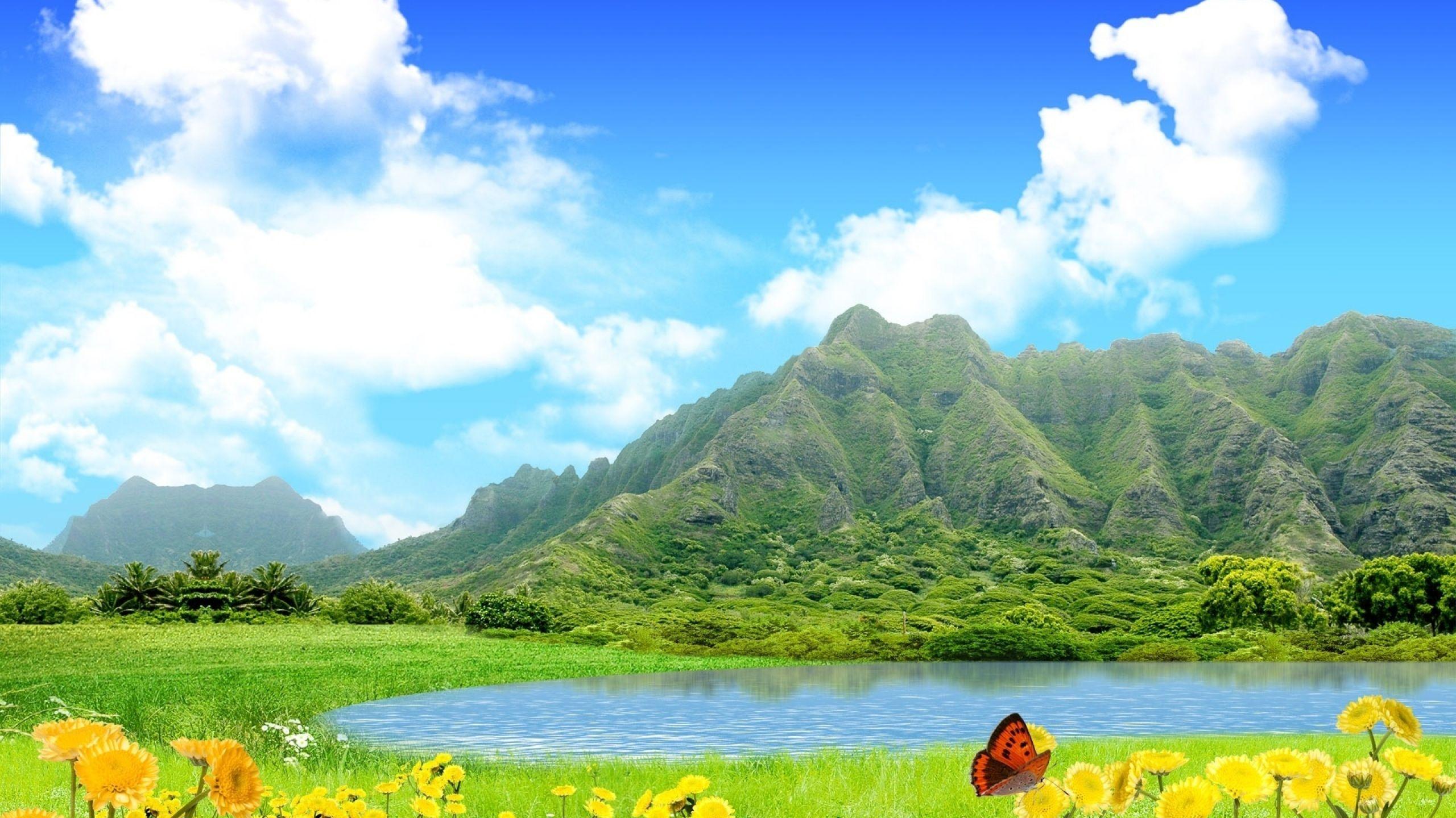 Download Wallpaper 2560x1440 Mountains Lake Sky Flowers Butterfly Summer Mac Imac 27 Hd Background Scenery Wallpaper Fantasy Landscape Nature Wallpaper