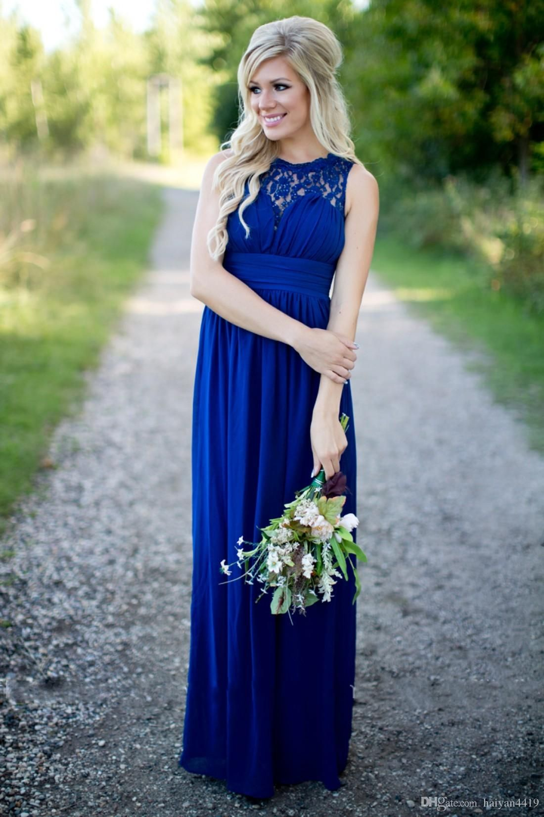 d50f38cec4cb Country Bridesmaid Dresses 2016 Long For Wedding Royal Blue Chiffon Lace  Illusion Neck Sheer With Beads
