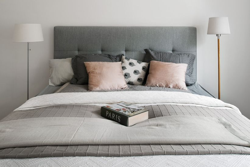 Beautiful grey bedroom, with just a teeny little bit of pink! via Fantastic Frank