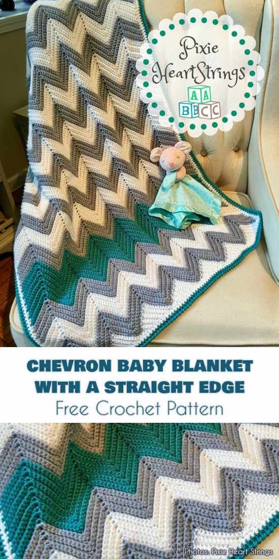 Chevron Baby Blanket with a Straight Edge Free Pattern | crochet ...