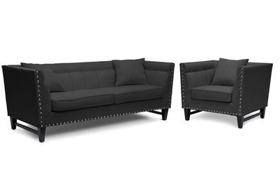 Incredible Baxton Studio Stapleton Gray Linen Modern Sofa And Chair Set Spiritservingveterans Wood Chair Design Ideas Spiritservingveteransorg