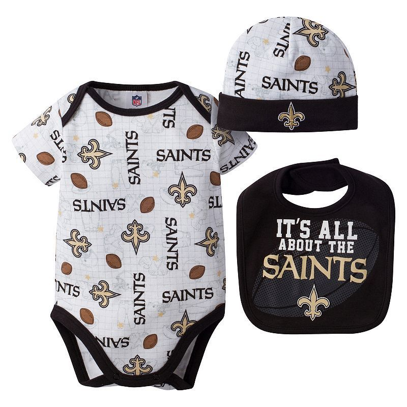 3b860c41 Baby New Orleans Saints 3-Piece Bodysuit, Bib & Cap Set | Products ...