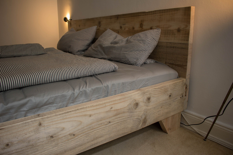 Bett Aus Bauholz Kopfteil 140 160 180 200 Upcycling Vintage Etsy Bauen Mit Holz Bett Holz Bett