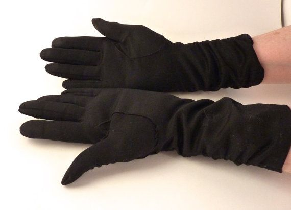 Black Ruched Gloves  Sz 6 Stretchy Cotton Nylon Blend Ruched Arm