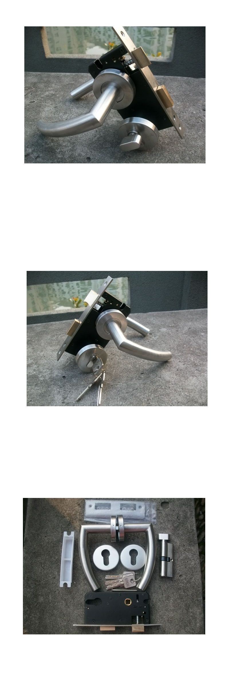 304 STAINLESS STEEL HOLLOW DOOR LOCK WITH DOOR HANDLE CYLINDER AND
