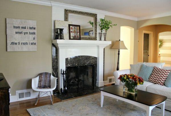 Wohnzimmer Modern Einrichten   Helle Wandfarbe Und Dekoblumen   Wohnzimmer  Streichen U2013 106 Inspirierende Ideen
