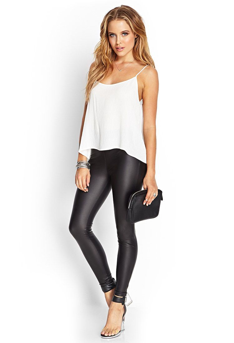 3c9b64570a5 50+ best faux leather leggings outfit | What to wear to work ...