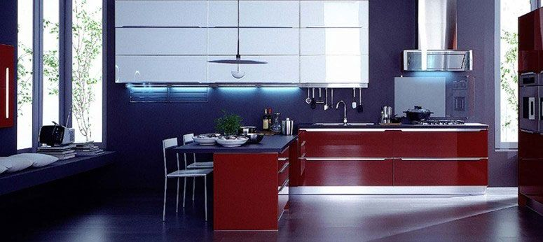 Modern Italian Kitchen Design With Blue Wall And Red Cabinet Old Ideas Home