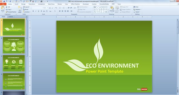 Green Sustainability Powerpoint Template Has Four Unique Slide
