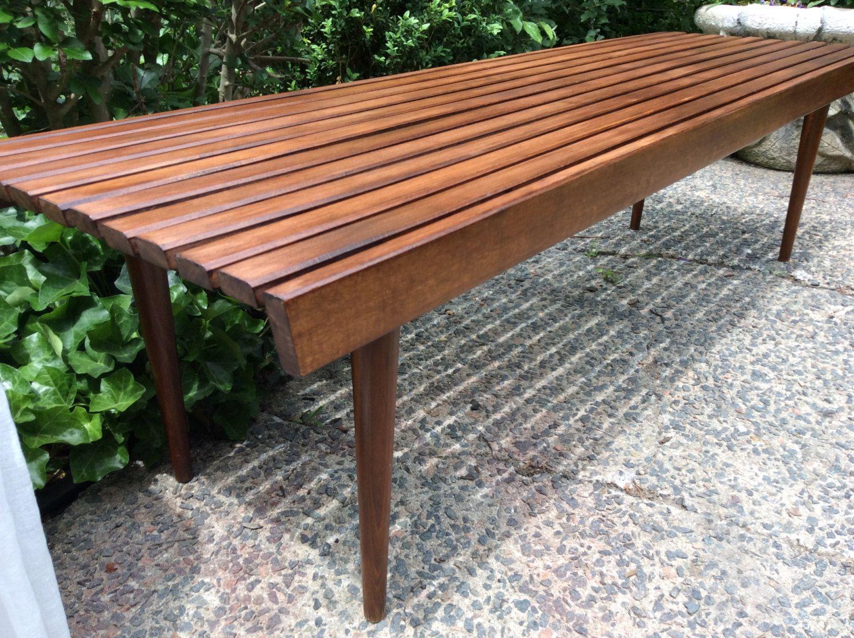 Mid century modern wood slat bench coffee table yugoslavian slat mid century modern wood slat bench coffee table yugoslavian slat bench coffee table george geotapseo Gallery