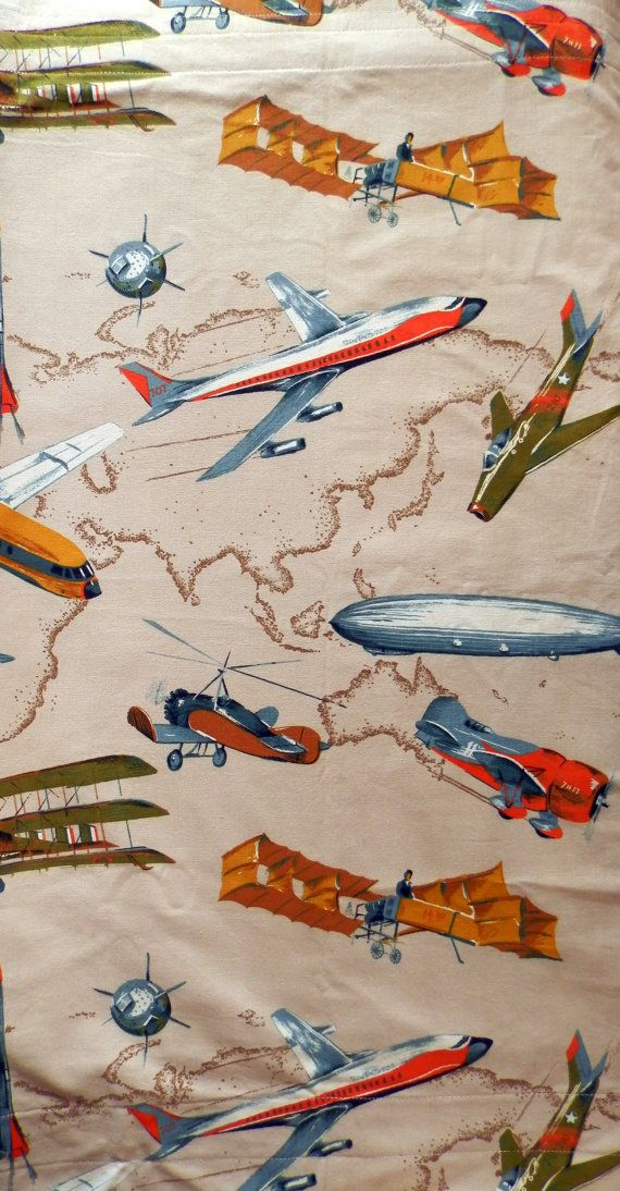 Vintage Airplane Fabric Curtain Panel by JazzyMarie on ...