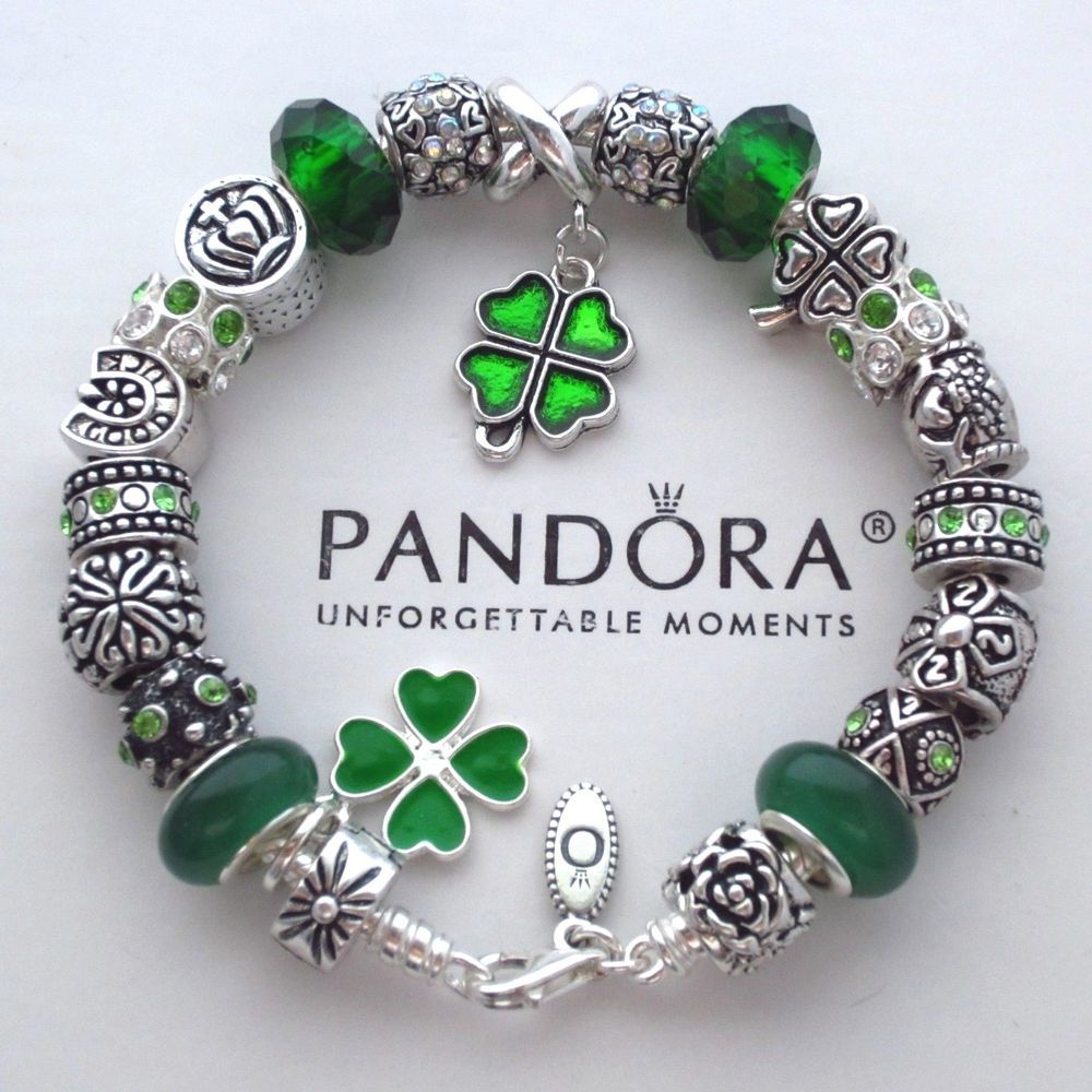 37da8c4ff Authentic Pandora Bracelet w/ Green Irish Blessings ~ 4 leaf clover Charm  Beads #PandoraBracelet #European