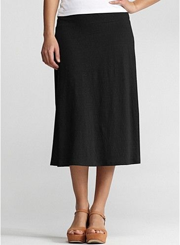 Calf-Length A-Line Skirt in Linen Jersey