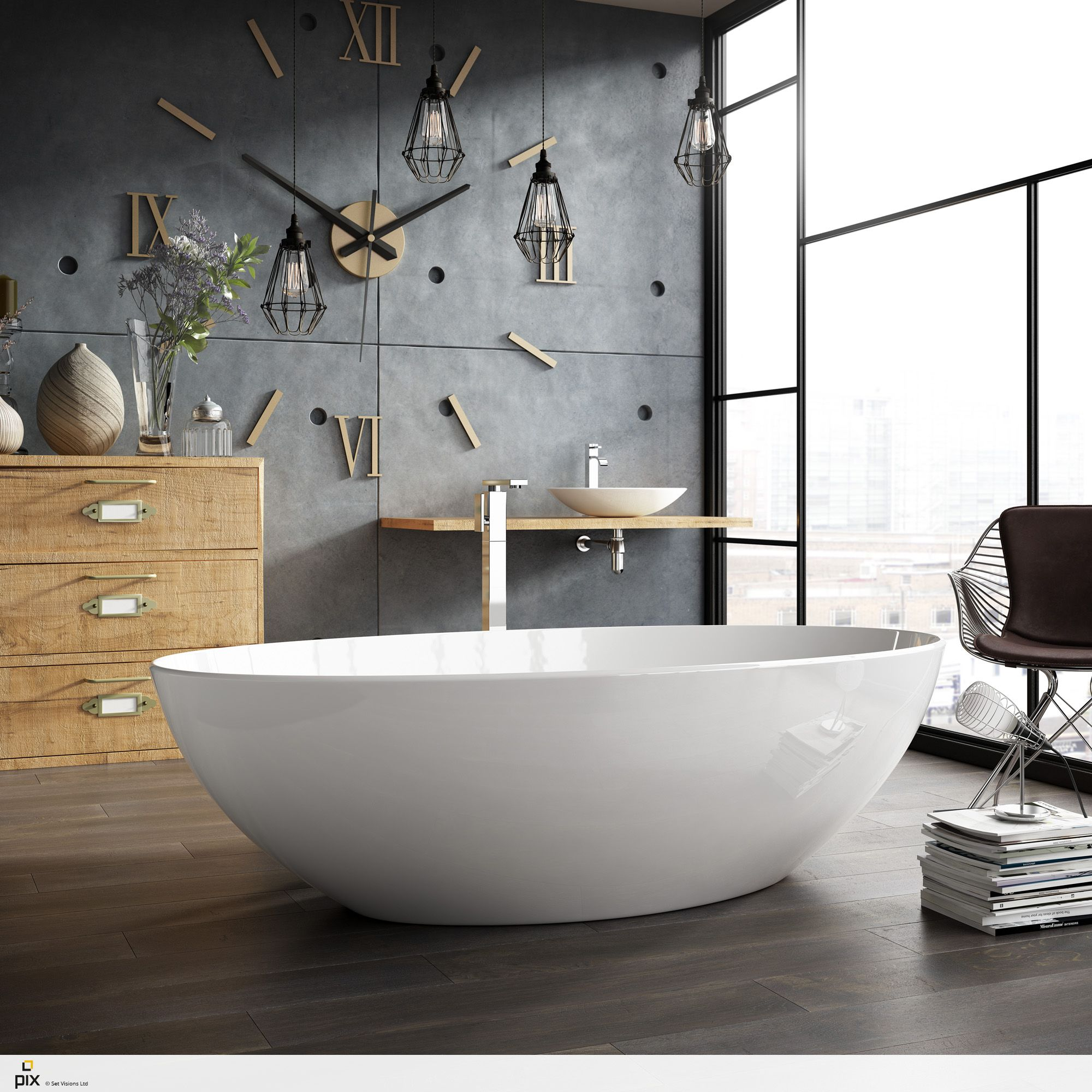 Free Standing Bathtub Set Within A Converted Warehouse Apartment, Urban City