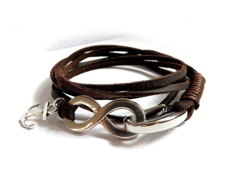 6a25fccae231fd Bracciale UOMO Ancora & Infinito acciaio inossidabile 3 giri pelle marrone  braccialetto nautico, by Mosquitonero
