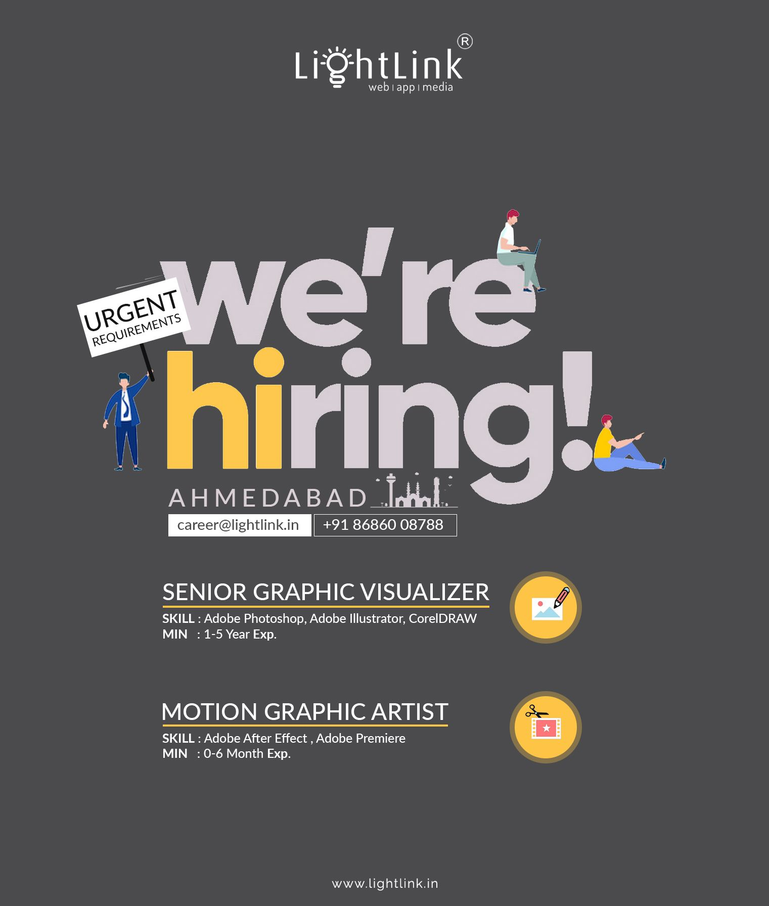 We Are Hiring Graphic Designer Motion Graphic Artist Ahmedabad India