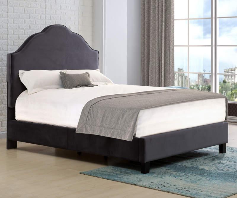 Dark Gray Velvet Upholstered Queen Bed With Scallop Shape
