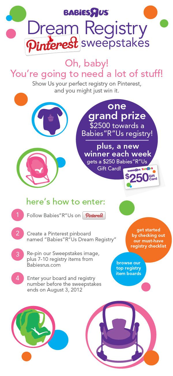 """a2dc05a3c327 Babies""""R""""Us  Win Your Dream  Registry Pinterest Sweepstakes Registrant   LINDA"""
