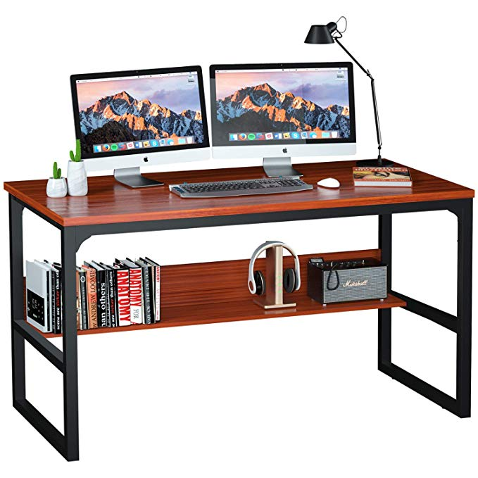 100 Computer Desk with Bookshelf 55'' for