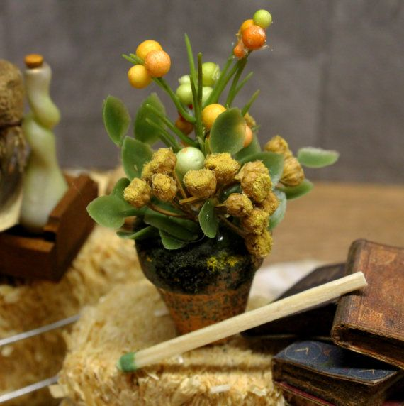 Miniature Creepy Potted Plant  Yellow Statice by ArcanumMiniatures, $22.85
