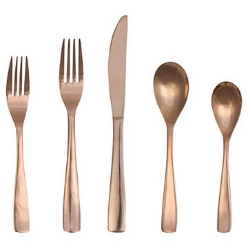 Vivian Flatware Set 5 Pc Stainless Steel Rose Gold Threshold Rose Gold Flatware Silverware Set Gold Flatware
