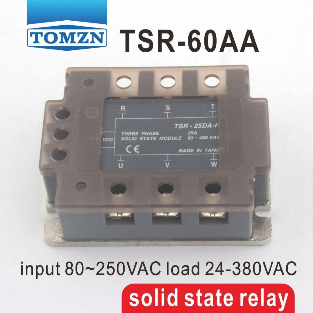 60aa Tsr Three Phase Ssr Input 80250vac Load 24 380vac Single Solid State Relay 240v Ac