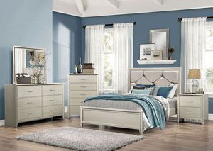 Silver Full Upholstered/Panel Bed, /category/bedrooms/silver-full-upholstered-panel-bed.html