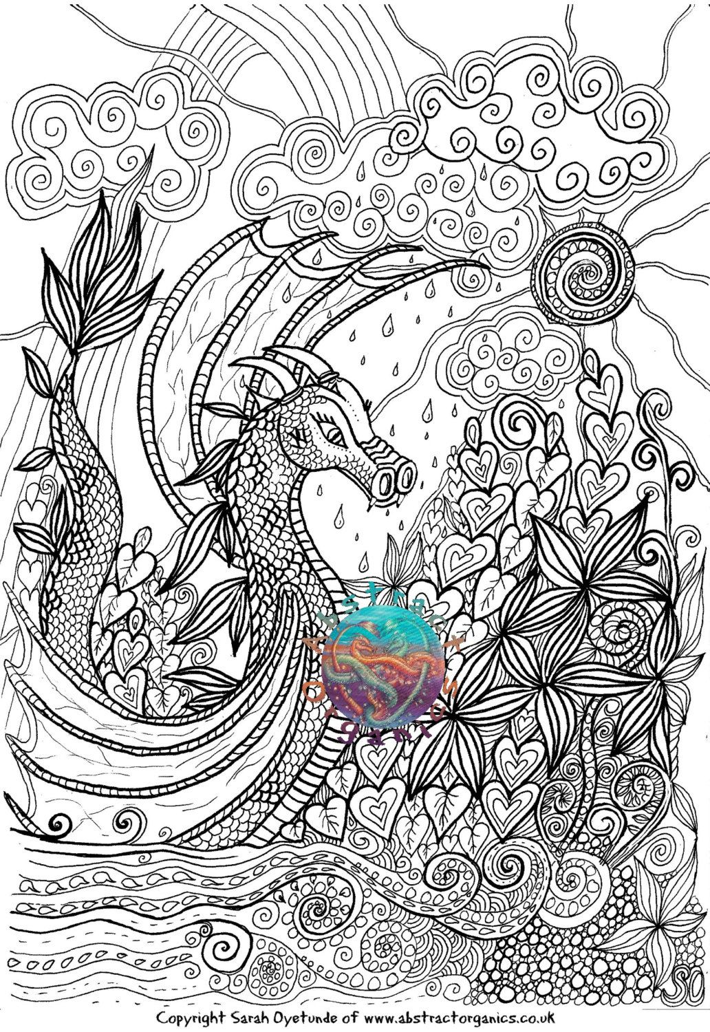 Dragon Landscape Fantasy Adult Colouring Therapeutic Page Sun Rain