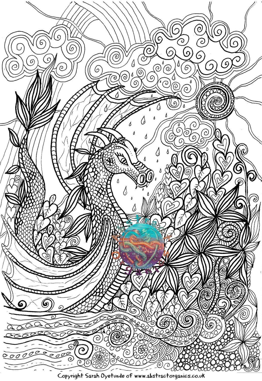 Dragon landscape, fantasy landscape, adult colouring