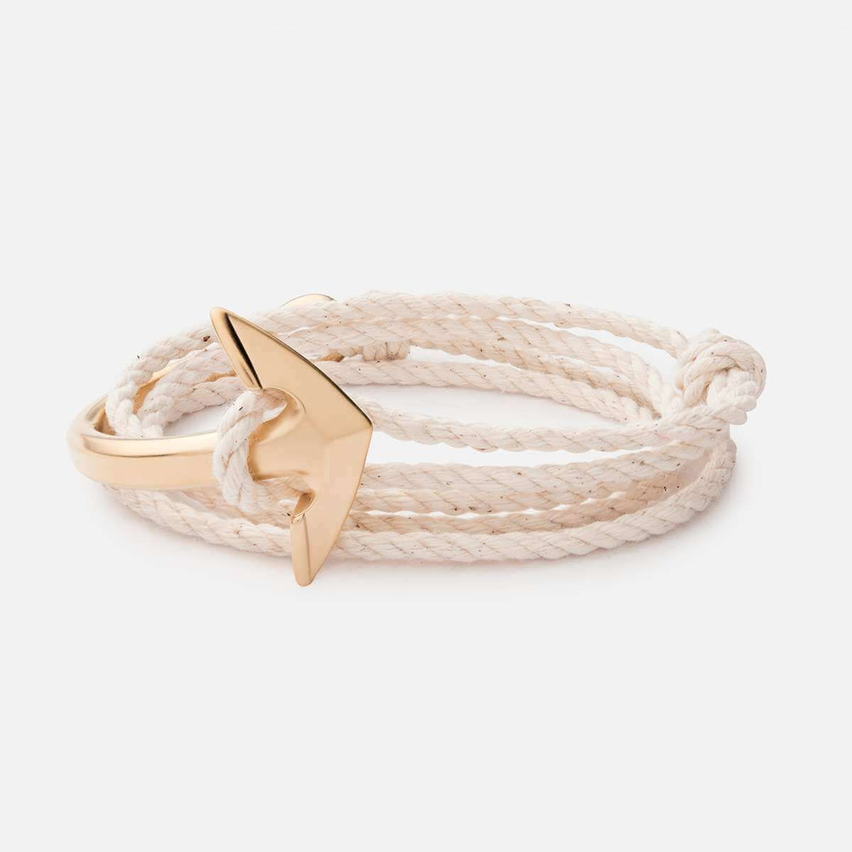 Anchor halfcuff cotton rope bracelet matte gold bracelets