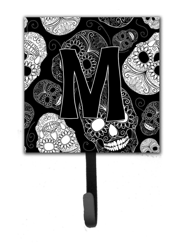 Letter M Day of the Dead Skulls Black Leash or Key Holder CJ2008-MSH4