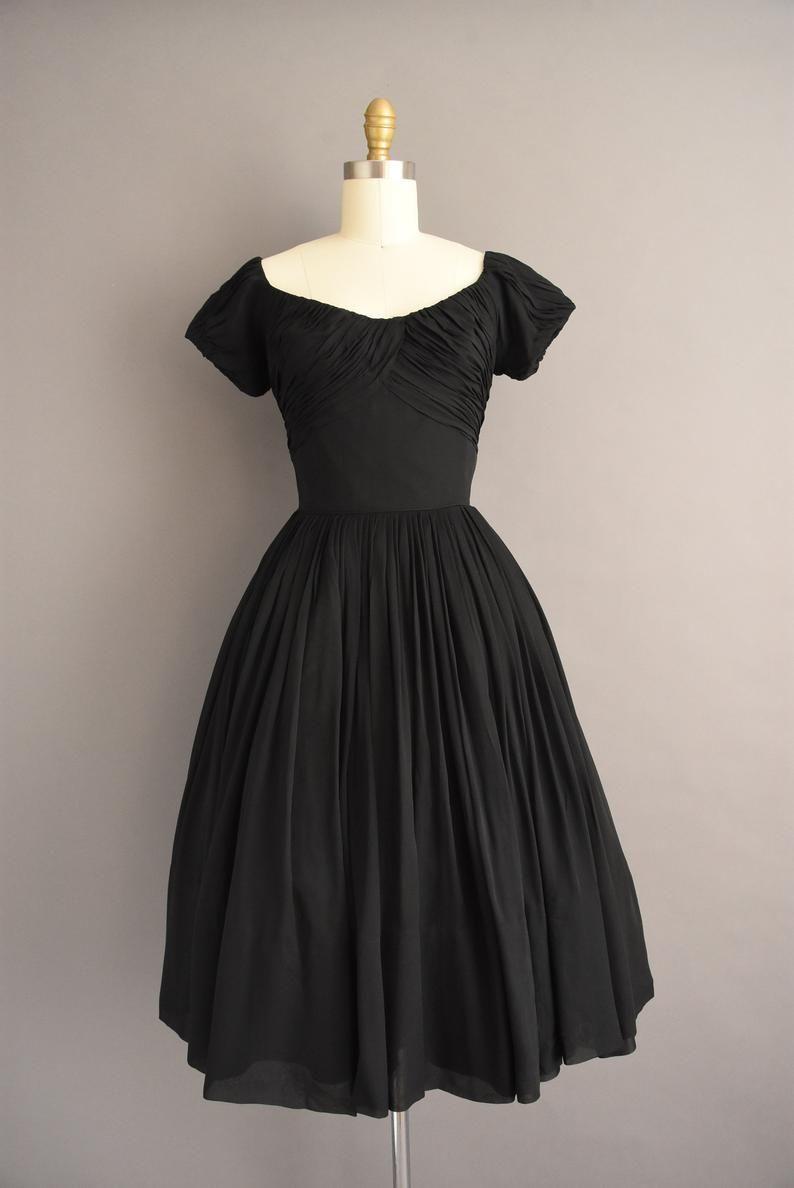 Vintage 1950s Gorgeous Rappi Jet Black Holiday Cocktail Etsy Full Skirt Dress Black Cocktail Dress Vintage Dresses [ 1188 x 794 Pixel ]