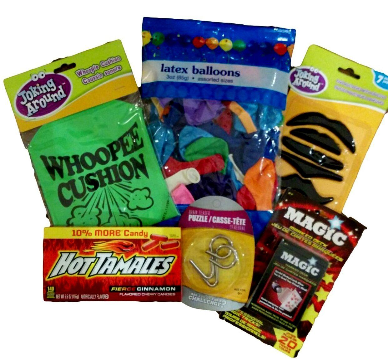 """6pc. """"Bored Buster"""" Teen and Tween Gift Activity Set Balloons Whoopie Cushion Magic Card Deck Mind Teaser Puzzle and Play Mustaches"""