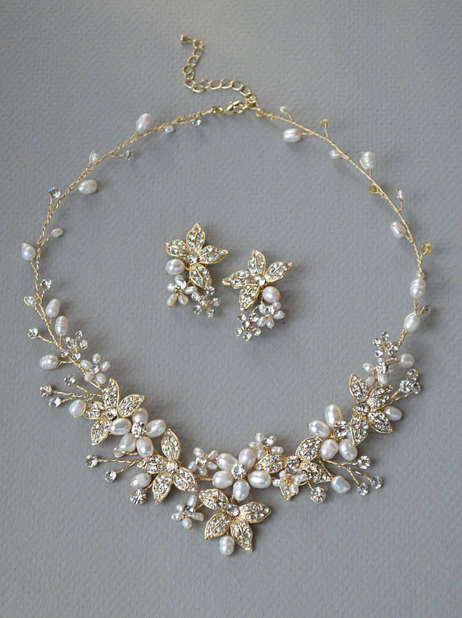 Gold Floral Jewelry Set, Gold Pearl Wedding Jewelry, Gold Pearl Jewelry Set, Rhinestone Gold Jewelry Set, Bridal Gold Accessories ~JS-1670
