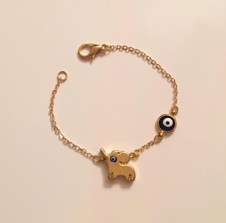 Gold Plated Elephant Bracelet, Cute Gold Evil Eye Elephant Charm ...
