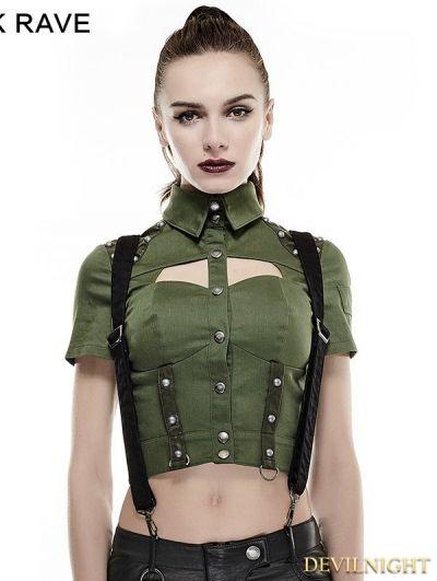 fd5da6ee56a Green Sexy Military Uniform Short Shirts for Women