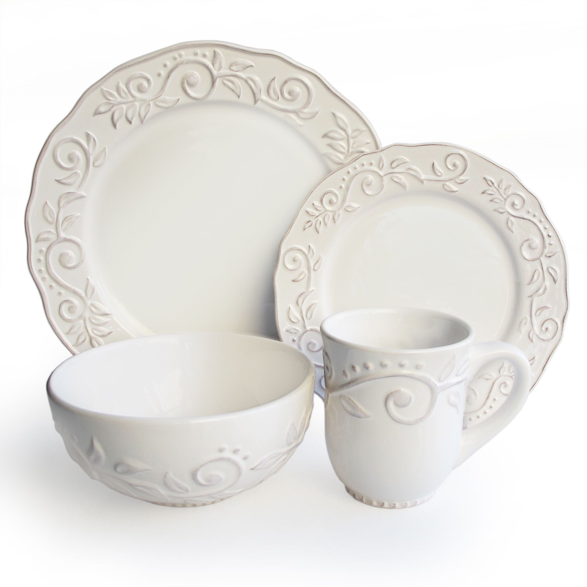 Elegant Tableware For Dining Rooms With Style: Raised Leafy Accents Along The Rims And Edges Of This