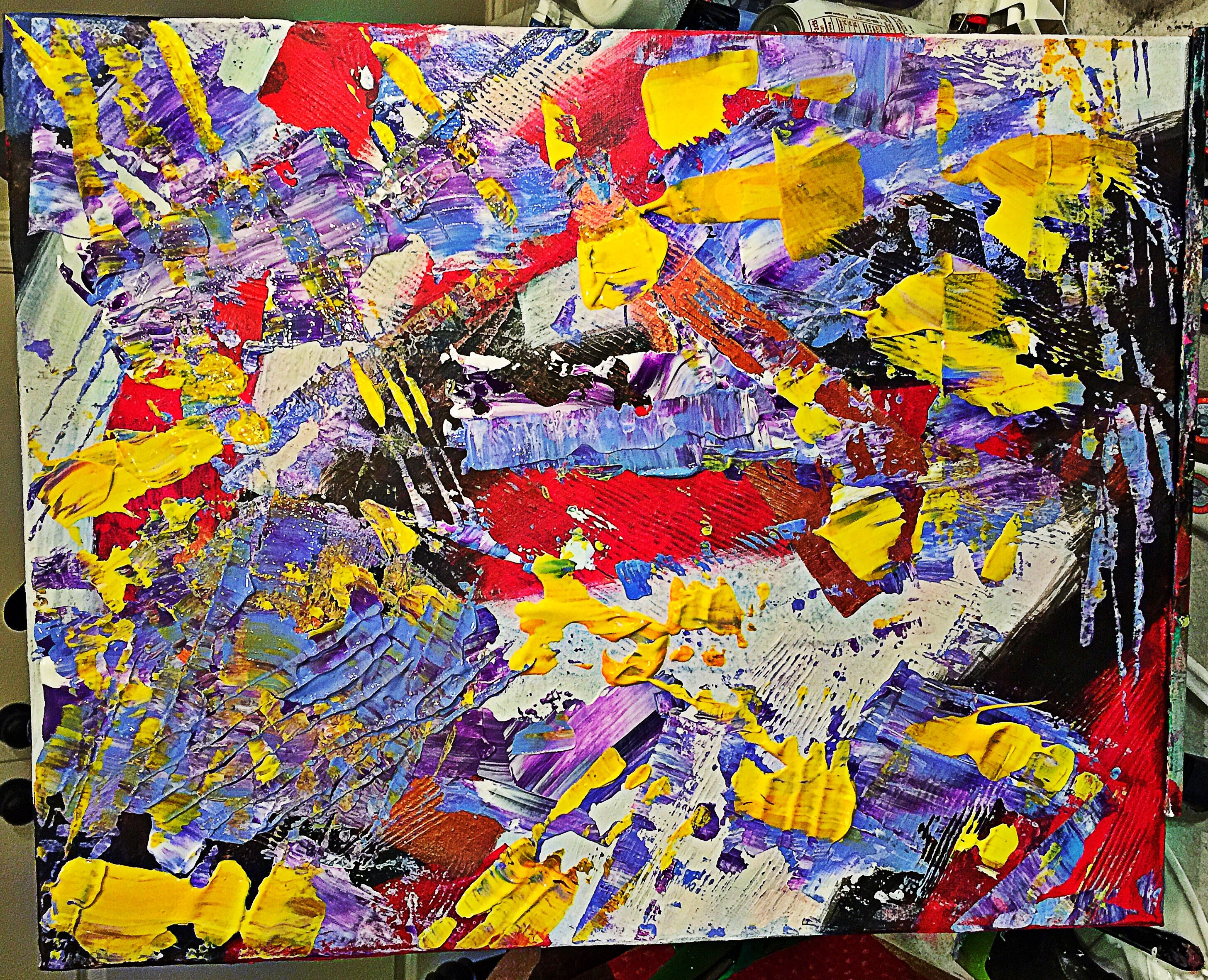 16''x 20'' Purple, yellow, red, black, white, textured