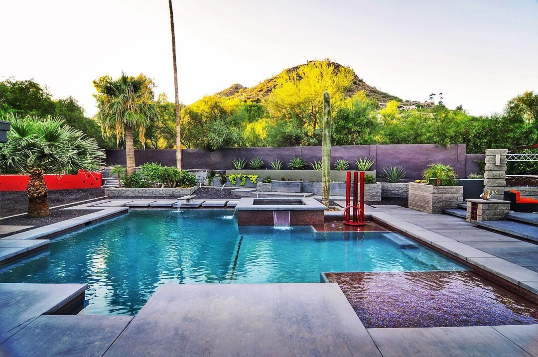 When Modern Is The Result Wanted Swimmingpool Design Az Luxury Cactus Pool Glass Tile Designer Architecture Desert Views Swimming Pools Pool Views