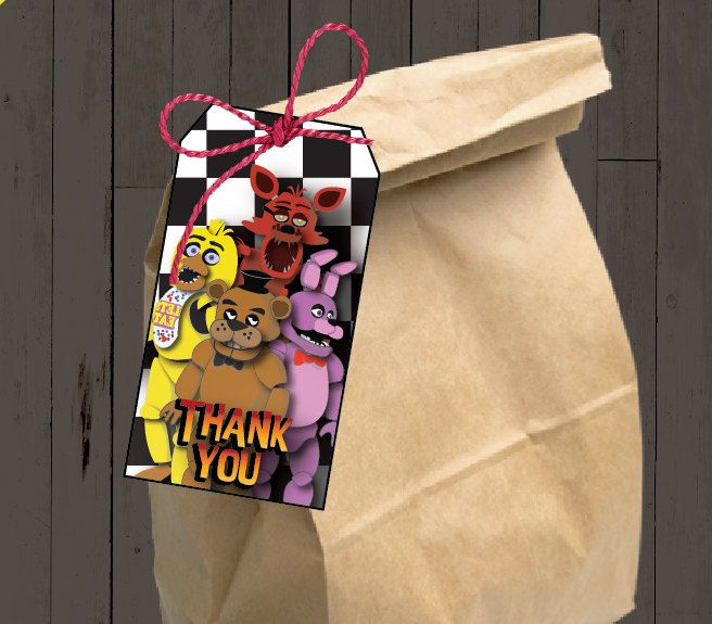 Five nights at freddy's Thank Gift/candy bag tags por CocoDelava
