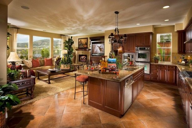 Stunning Open Concept House Plans With Brown Painted Mahogany Wood Kitchen Island Open Concept Kitchen Living Room Open Floor Plan Kitchen Kitchen Design Open