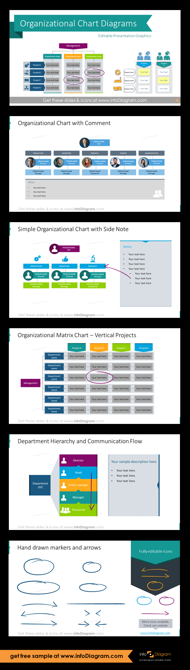 Company Organizational Structure Charts (PPT diagrams