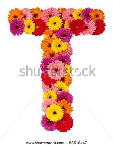 Letter T Flower Alphabet Isolated On White Background Stock Photo 88510447 Shutterstock Sanat Cicek Harfler