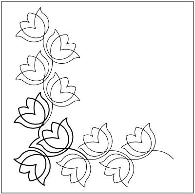 Belladonna Border #1 Corner quilting pantograph pattern by