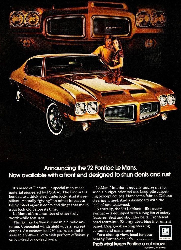 1972 Pontiac Le Mans Ad Pontiac Lemans Car Advertising Pontiac