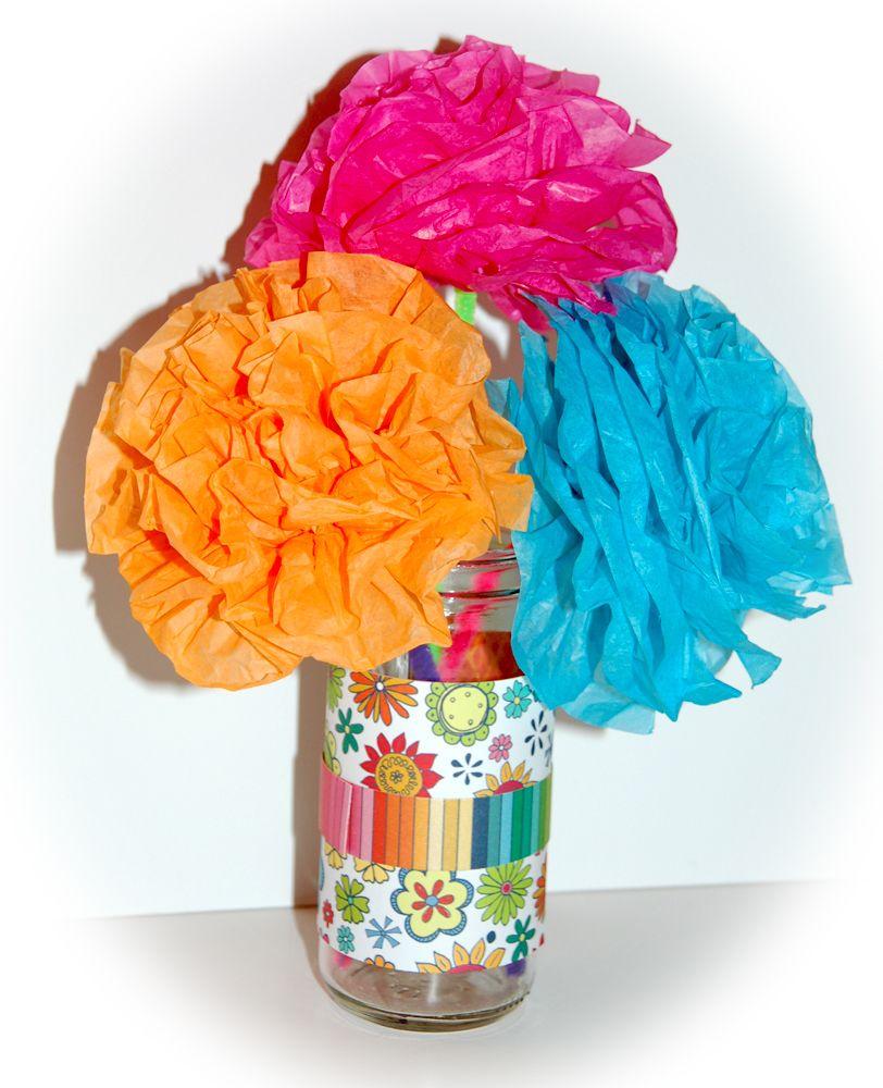 Cheerful tissue paper flower bouquet emilys 1st birthday cheerful tissue paper flower bouquet izmirmasajfo