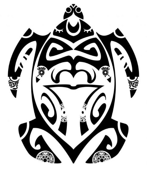 Hawaiian Tattoo Designs And Meanings: A Classic Polynesian Turtle Tattoo Designed With Tiki And