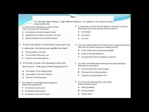 FCE exam or B2 exam. listening test 1.4 with answer keys