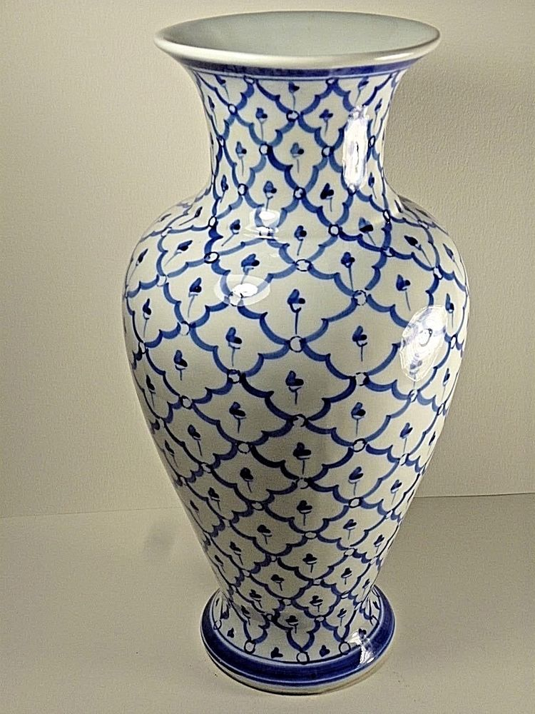 Vintage Blue And White Porcelain Vase With Floral Decor 125tall
